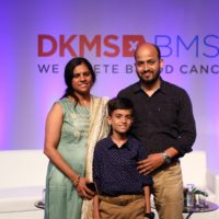Stem cell beneficiary Chirag and his parents at the DKMS-BMST launch in Bengaluru today